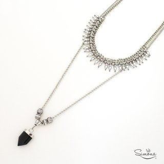 Collar Francisca - 2 en 1 (Obsidiana)