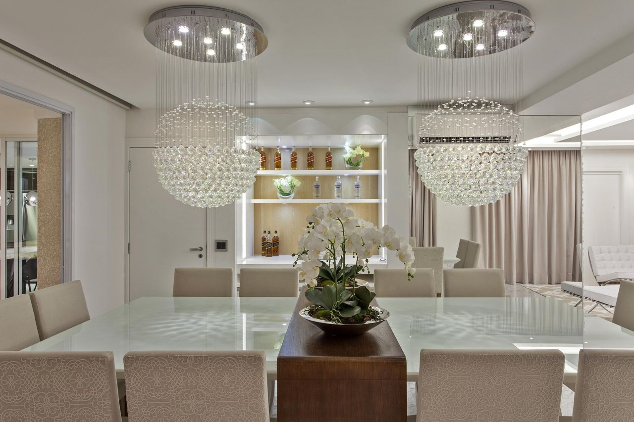 Lustre De Cristal Bola 60cm Para Sala De Jantar E Estar -> Lustres Para Sala De Jantar Com Mesa Quadrada