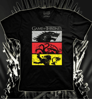Camiseta Game Of Thrones - Casas Stark, Targaryen e Lannister