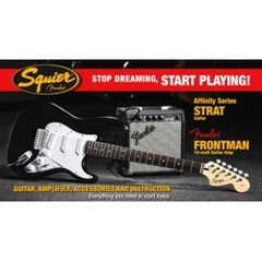 Pack Start Playing, Affinity Stratocaster + Amp. Front.10G, Black SQUIER (no incluye DVD) mod 030-1612-006