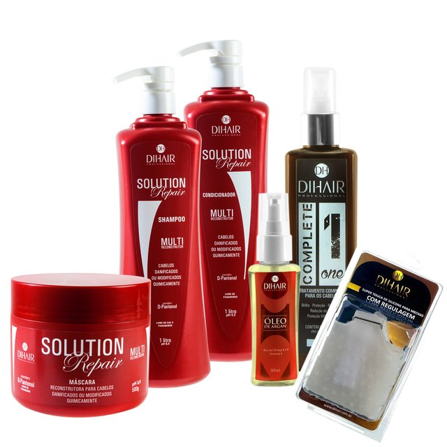 kit Solution Repair Multi Reconstrutor 1Litro + Óleo de Argan 30ml + Complete One 220ml + Touca com Regulagem - Dihair Professional
