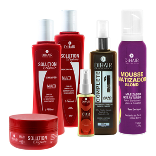 Solution Repair 300ml Multi Reconstrutor 300ml + Mousse Matizador Blond 150ml + Complete One 220ml + Óleo de Argan 30ml - Dihair Professional - comprar online