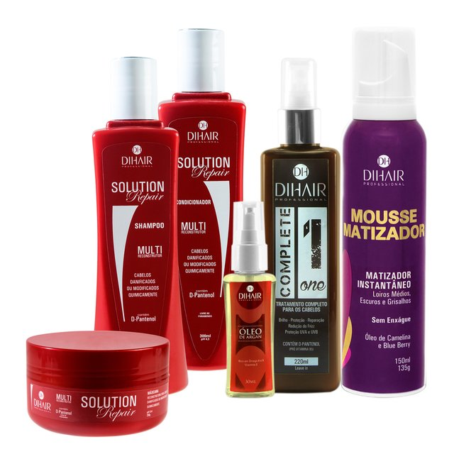 kit Solution Repair Multi Reconstrutor 300ml + Óleo de Argan 30ml + Complete One 220ml + Mousse Matizador Concentrado 150ml - Dihair Professional - comprar online