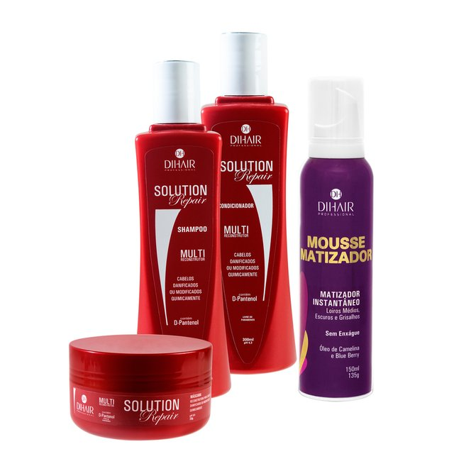 kit Solution Repair Multi Reconstrutor 300ml + Mousse Matizador Concentrado 150ml - Dihair Professional - comprar online