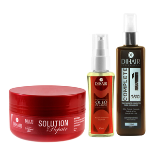 Máscara Solution Repair Multi Reconstrutor 250gr + Complete One 220ml + Óleo de Argan 30ml  - Dihair Professional - comprar online
