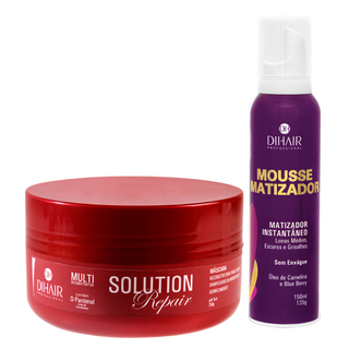 Máscara Solution Repair Multi Reconstrutor 250gr + Mousse Matizador Concentrado 150ml - Dihair Professional - comprar online