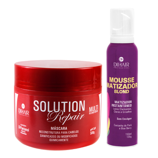 Máscara Solution Repair Multi Reconstrutor 500gr + Mousse Matizador Blond 150ml - Dihair Professional