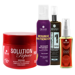 Máscara Solution Repair Multi Reconstrutor 500gr + Mousse Matizador Concentrado 150ml + Complete One 220ml + Óleo de Argan 30ml  - Dihair Professional