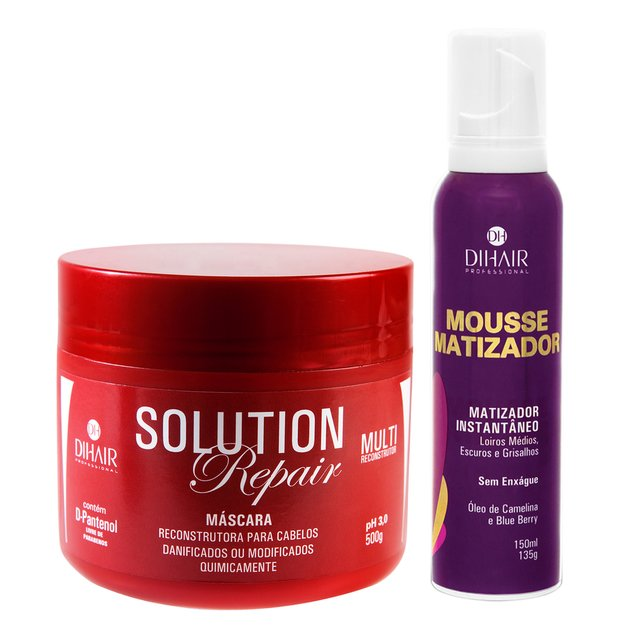Máscara Solution Repair Multi Reconstrutor 500gr + Mousse Matizador Concentrado 150ml - Dihair Professional