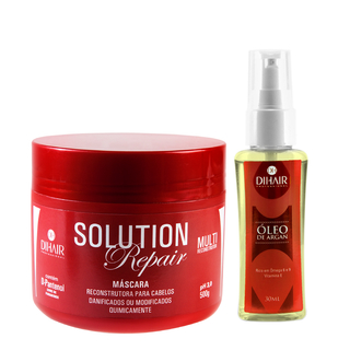 Máscara Solution Repair Multi Reconstrutor 500gr + Óleo de Argan 30ml - Dihair Professional