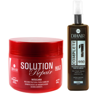 Máscara Solution Repair Multi Reconstrutor 500gr + Leave-In Complete One 220ml - Dihair Professional