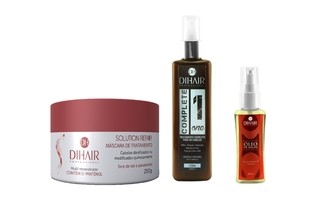 Máscara Solution Repair Multi Reconstrutor 250gr + Complete One 220ml + Óleo de Argan 30ml  - Dihair Professional