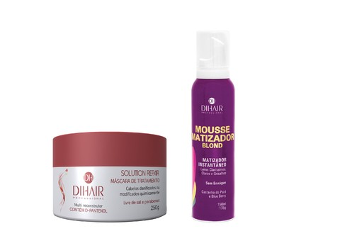Máscara Solution Repair Multi Reconstrutor 250gr + Mousse Matizador Blond 150ml - Dihair Professional