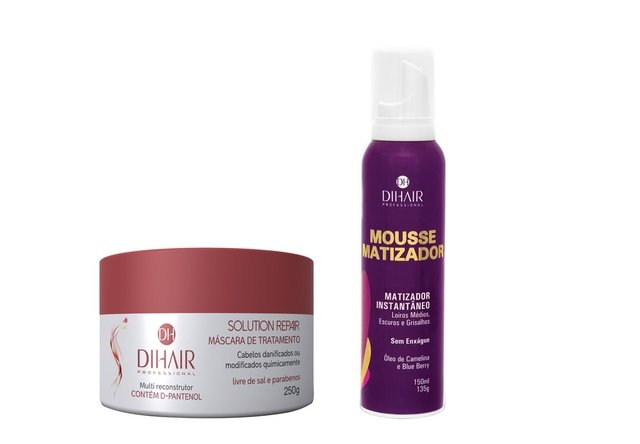 Máscara Solution Repair Multi Reconstrutor 250gr + Mousse Matizador Concentrado 150ml - Dihair Professional