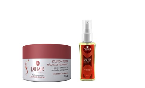 Máscara Solution Repair Multi Reconstrutor 250gr + Óleo de Argan 30ml - DiHair Professional