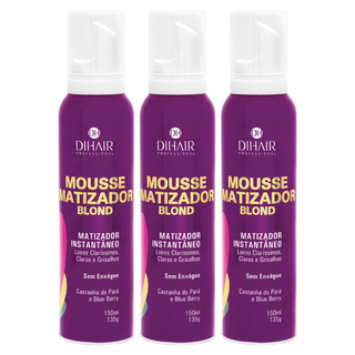 3 Mousse Matizador Blond 150ml - Dihair Professional