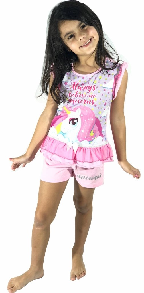 0e67e5d6b Pijama Feminino Infantil Unicórnio 24.01.0038