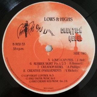 LP Creation Rebel - Lows & Highs (Original Press) [VG+] - loja online