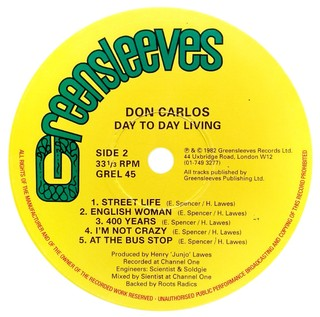 LP Don Carlos - Day to Day Living [VG] - Subcultura