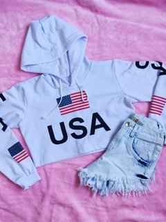 Moleton cropped USA feminina estilo blogueira tumblr