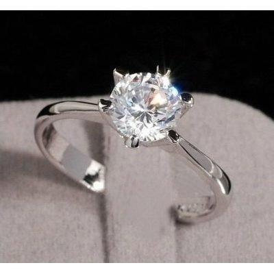Anel Solitário Banhado a Prata 925 com Diamante cz 3ed0c382e7