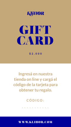 GIFT CARD / REGALA KLIHOR en internet