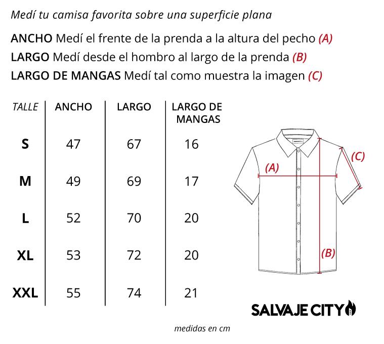 Tabla de talles camisa kioto