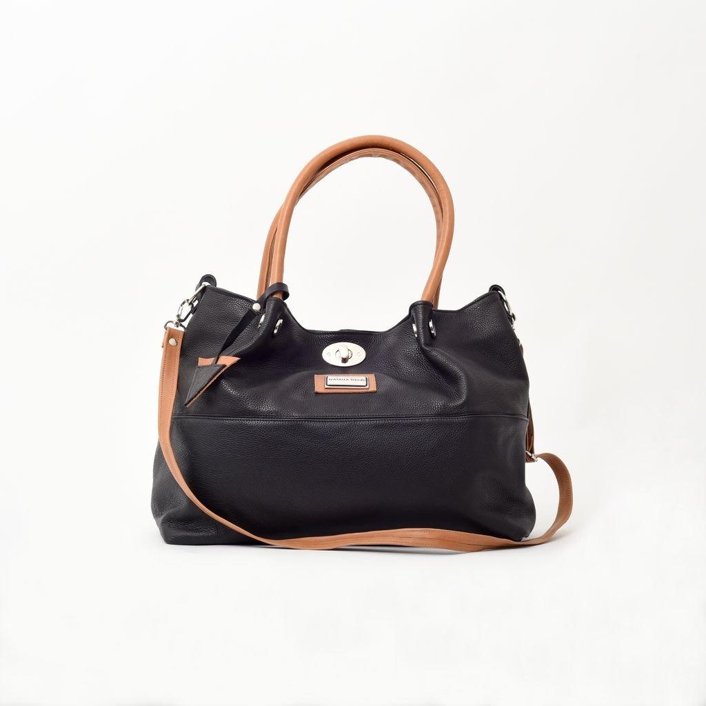 7191edb38 Cartera ,bolso color negro combinado con camel de cuero con herrajes  importados