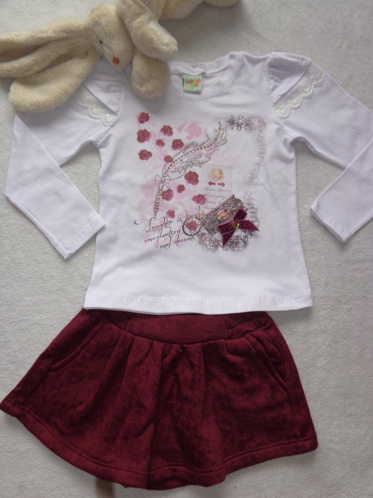 f9823dce87 Conjunto Blusa Cotton com Short Saia Moleton Devorê Pettenati Have Fun  HF0115