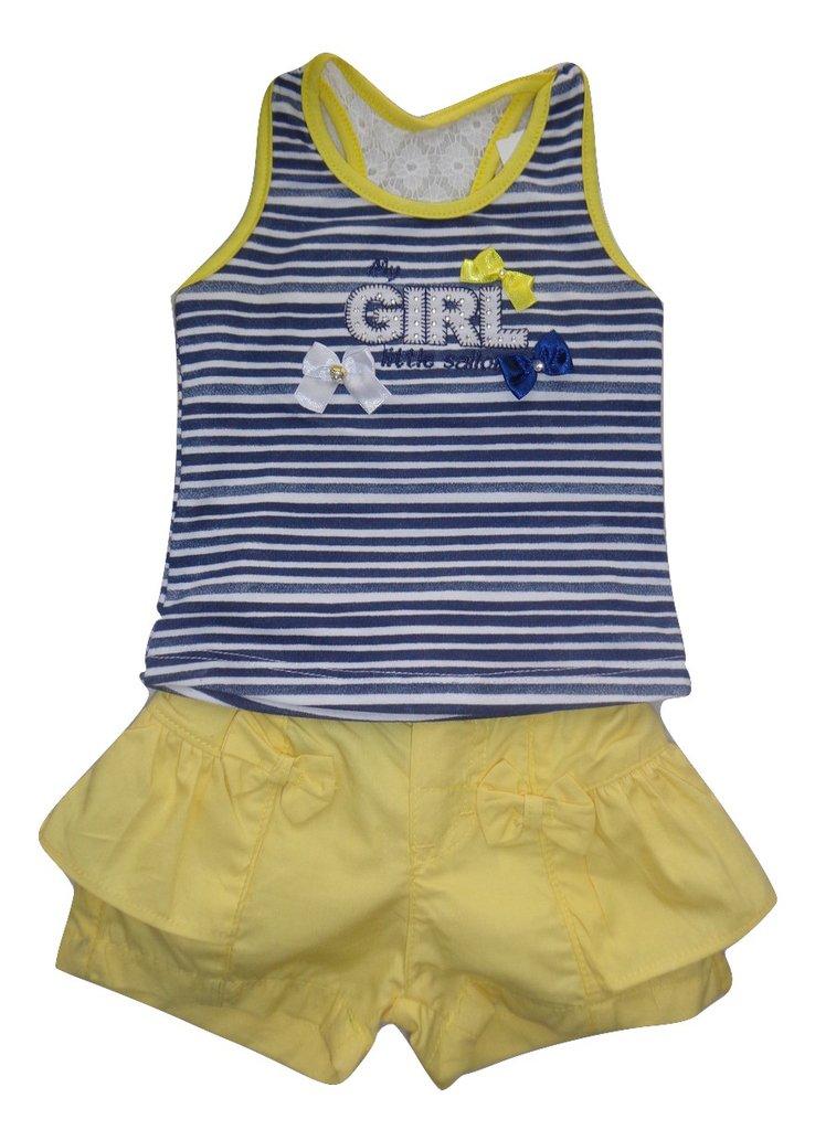 Conjunto infantil Menina Regata e Short com babado Have Fun HF0263 5b0422837b6