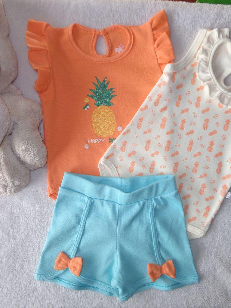 Kit 3 Peças Conjunto Body e calça Ribana 100% Bebê menina Have Fun HF0229 09505c681f6