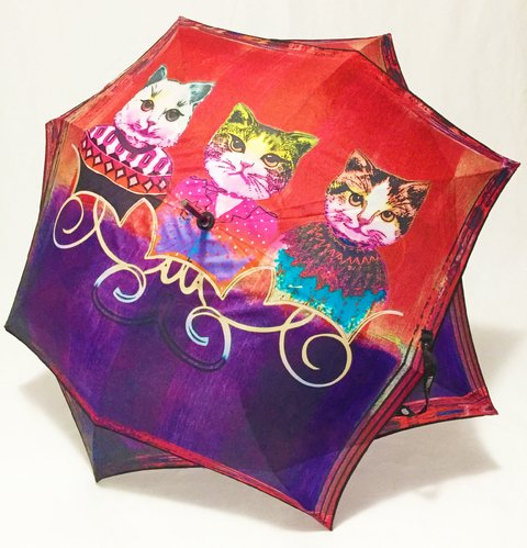 906 - Paraguas Largo Gatos Fashion Perletti