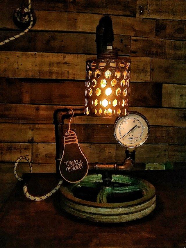 Lampara industrial vintage con foco edison pantalla oxido - Lampara industrial vintage ...