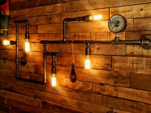 Aplique Pared Industrial 5 Edison Vintage