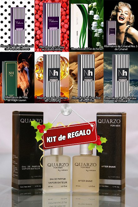 Promo 24x13 «Fragancias Símil Importados» + KIT QUARZO FOR MEN DE REGALO