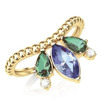 2061a544b4e5f Anel de Ouro com Pedras Coloridas