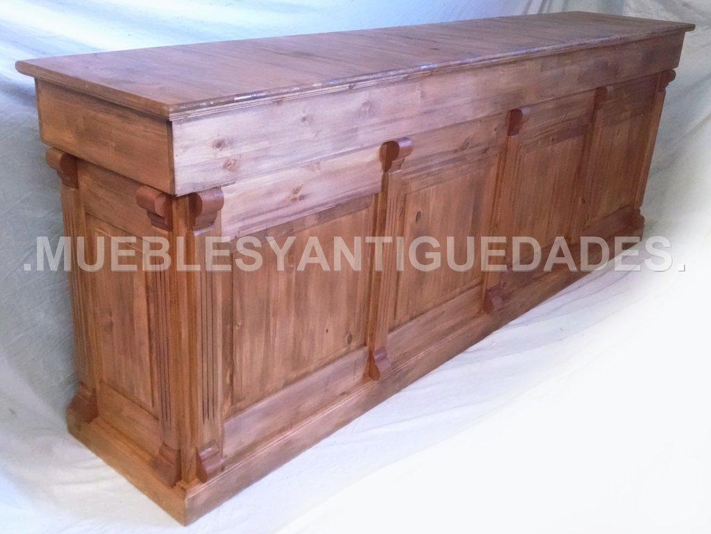 Barra mostrador estilo colonial en madera maciza ba108a for Bar de madera usado
