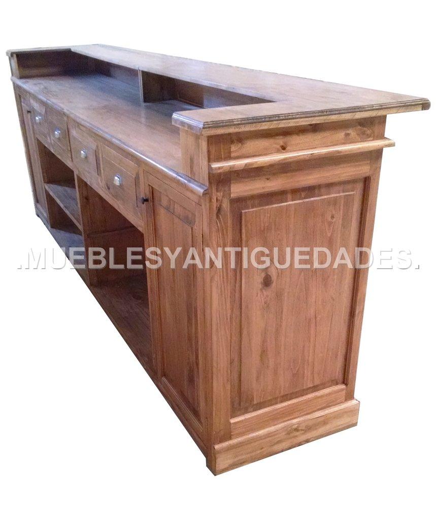 Barra mostrador ramos generales madera maciza ba111a for Muebles para bar precios