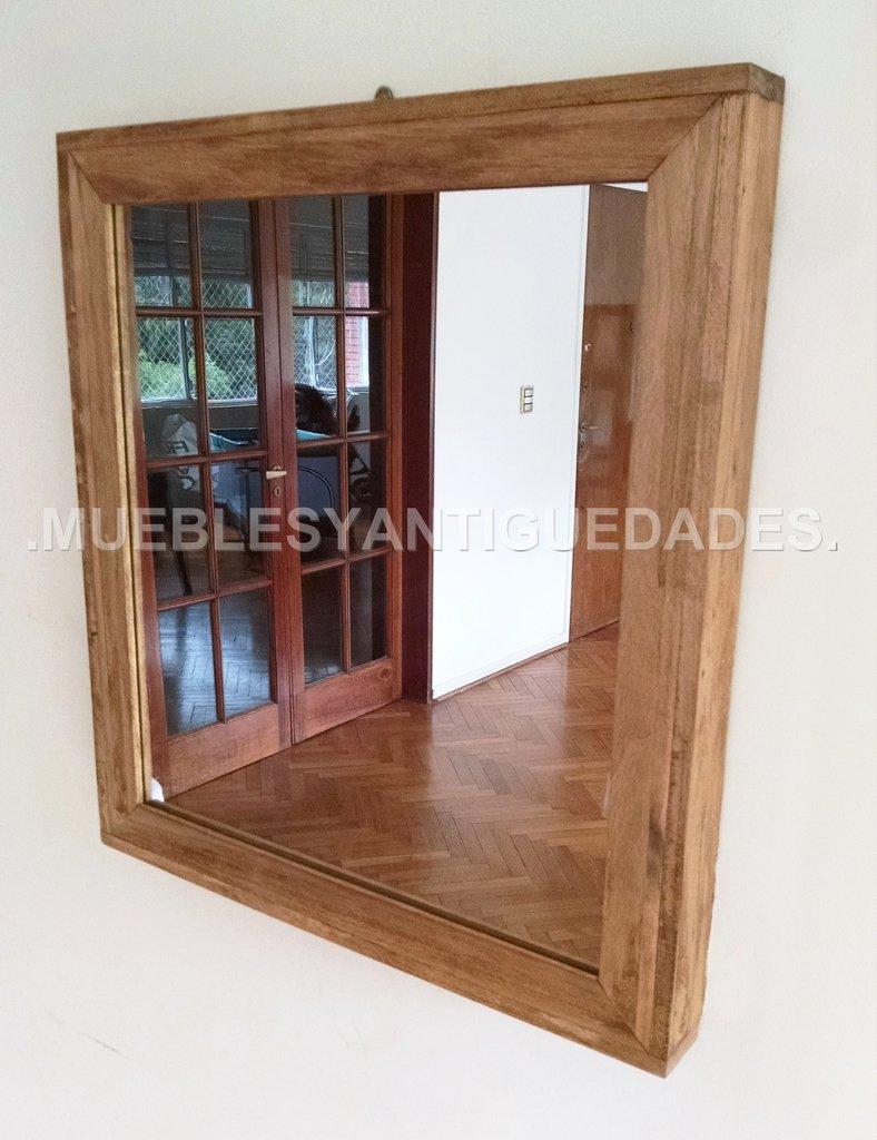 Espejo de pared cuadrado madera maciza reciclada 0 50 x 0 for Espejo pared madera