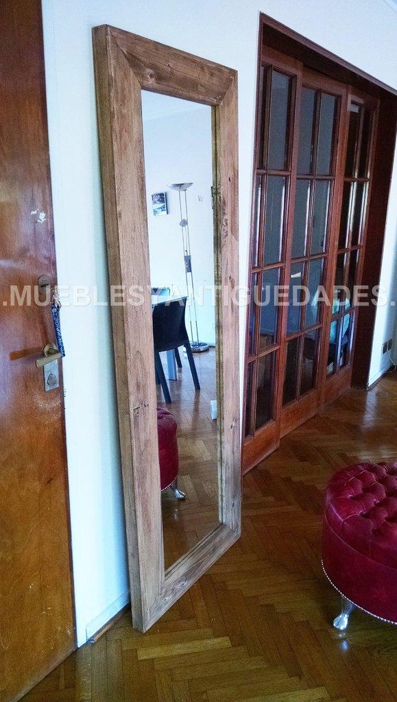 espejo de pie con marco en madera maciza reciclada 1 90 x