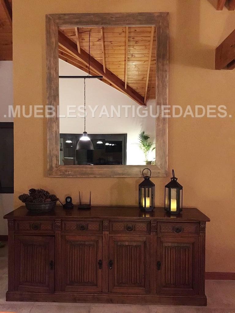 De Pie Colgar Con Marco En Madera Maciza 2 00 X 1 50 Mts Em107m  # Muebles Efecto Espejo