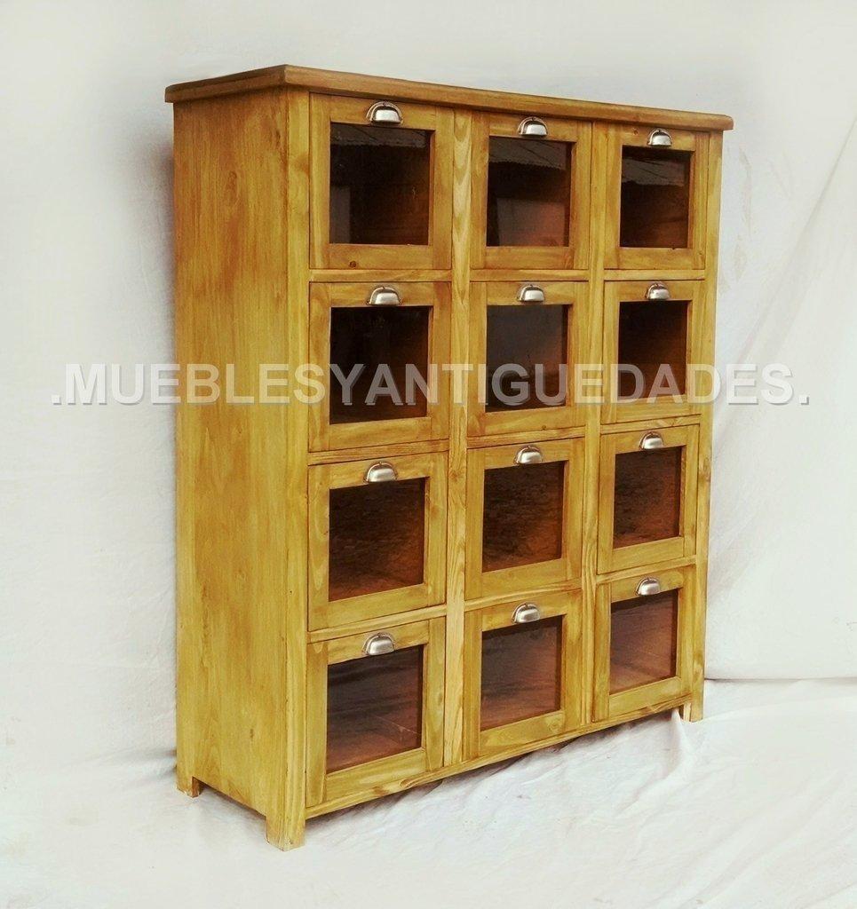 Fideera antigua 12 cajones madera maciza reciclada fi102a - Cajones de madera antiguos ...