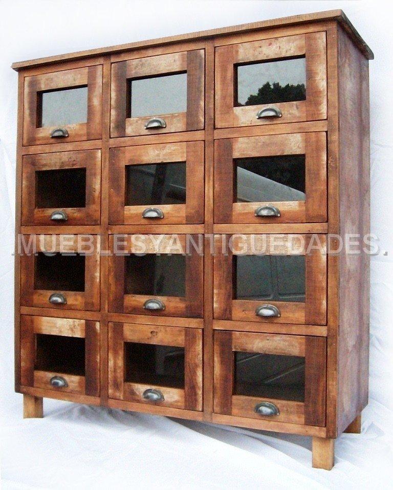 Fideera antigua 12 cajones madera maciza reciclada fi103a - Cajones de madera antiguos ...