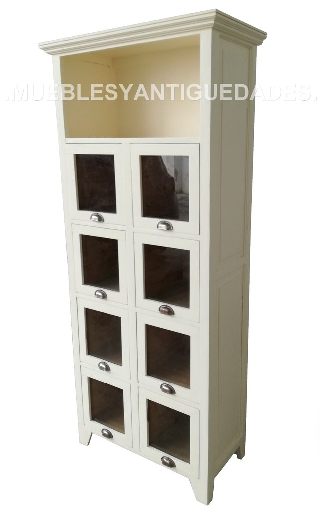 Alacena mueble de cocina fideera en madera maciza con 1 estante y 8 cajones  (AL103M)