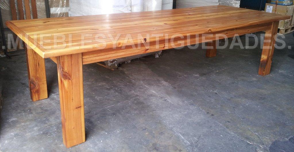Mesa mes n de comedor en pinotea reciclada 3 mts me104a for Mesones de madera