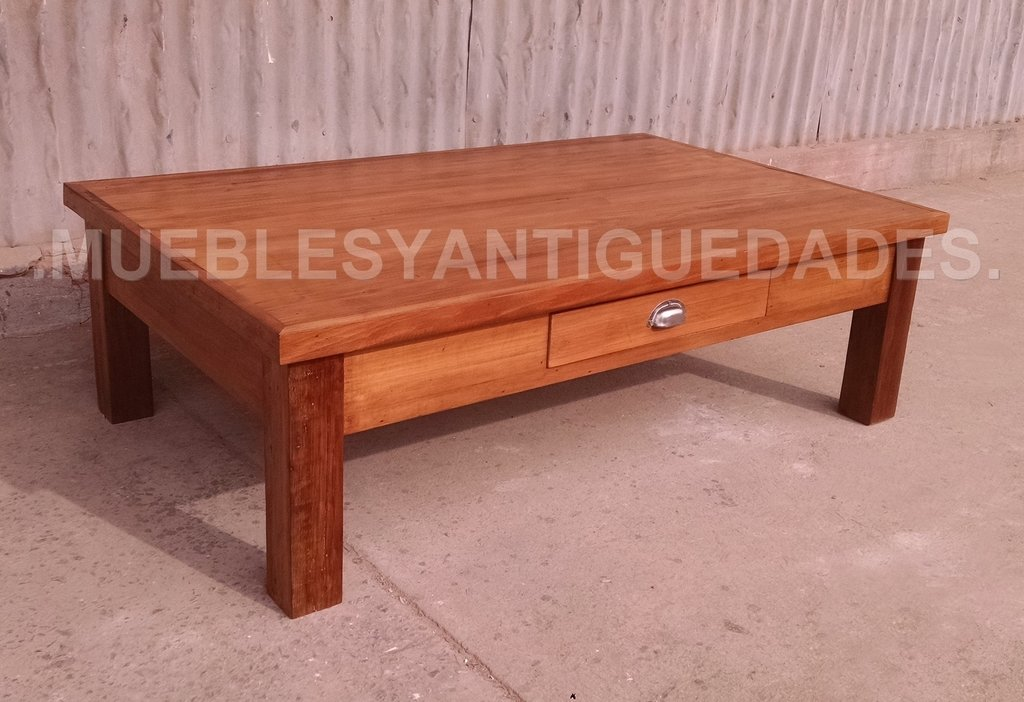 Mesa ratona en madera maciza con caj n mr117a for Mesa madera maciza
