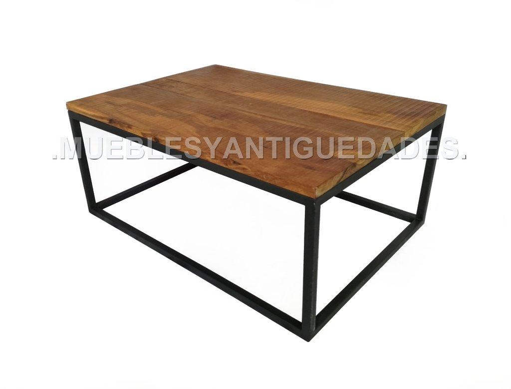 Mesa ratona estilo industrial de madera y hierro mr119a - Mesa madera industrial ...