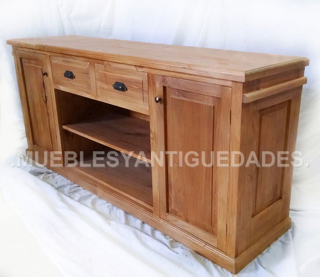 Mueble para tv audio en madera maciza reciclada tv101a for Muebles para tv en madera