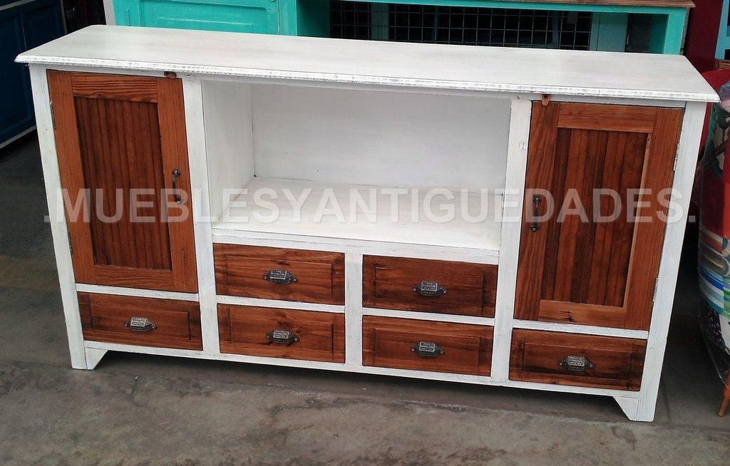 Mueble para tv audio en madera maciza reciclada tv101a for Muebles de madera para tv