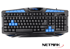 Teclado Gamer RAPTOR Netmak + Luz Led Multimedia USB